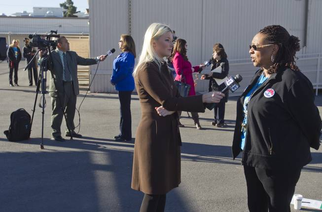 Teachers are interviewed by reporters following a rally for Education Awareness Day at Fay Herron Elementary School in North Las Vegas Monday Feb. 25, 2013. Teachers and members of the Clark County Education Association urged lawmakers in Carson City to consider issues with overcrowded classrooms and resources for English language learners. Over 95percent  of the student population at the school is Hispanic, the principal said.