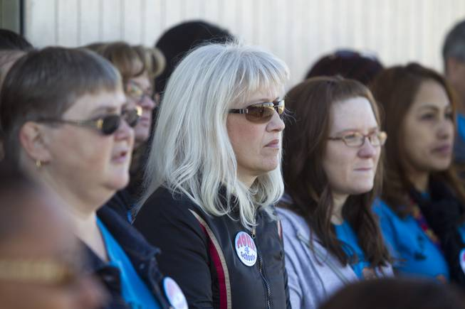 Teachers listen to speakers during rally for Education Awareness Day at Fay Herron Elementary School in North Las Vegas Monday Feb. 25, 2013. Teachers and members of the Clark County Education Association urged lawmakers in Carson City to consider issues with overcrowded classrooms and resources for English language learners. Over 95percent  of the student population at the school is Hispanic, the principal said.
