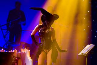 Claire Sinclair, Playboy's 2011 Playmate of the Year, performs in an October-themed sequence during a media preview of