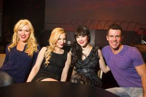 "From left, Sarah Short, Autumn Belanger, Claire Sinclair and Ryan Kelsey pose after a media preview of ""Pin Up,"" a new show at the Stratosphere, Monday, Feb. 25, 2013. The show, is scheduled to open March 2."
