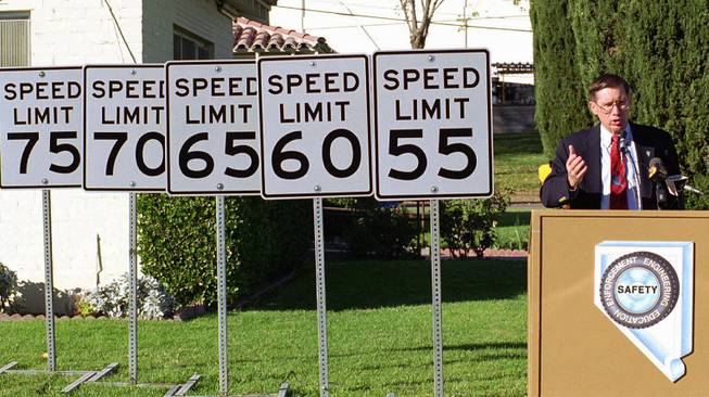 Tom Stephens, director of the Nevada Department of Transportation, talks about the higher speed limits in Nevada during a news conference, Dec. 8, l995, in Las Vegas. Stephens predicted that higher speed limits would have no increase in speed-related highway deaths.