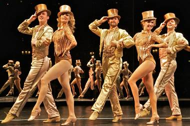 "Leigh Zimmerman in the West End production of ""A Chorus Line."""