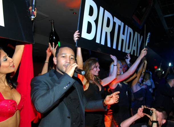 John Legend celebrates the first anniversary of 1 OAK in The Mirage on Friday, Feb. 22, 2013.