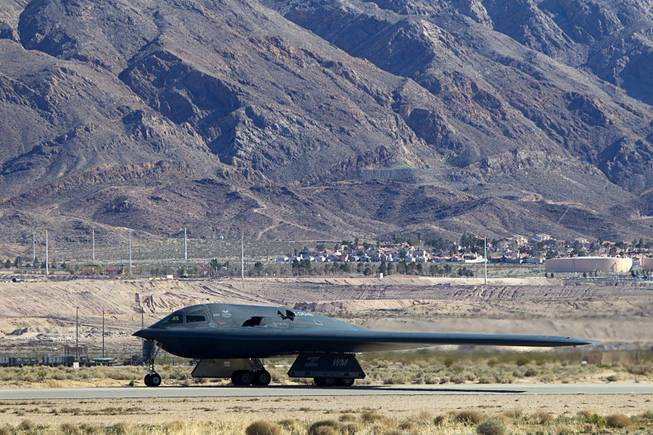 A B-2 Spirit taxis by a runway during Red Flag 13-3 exercises at Nellis Air Force Base Wednesday, Feb. 27, 2013.