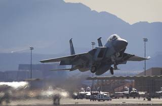 An F-15 takes off during Red Flag 13-3 exercises at Nellis Air Force Base Wednesday, Feb. 27, 2013.