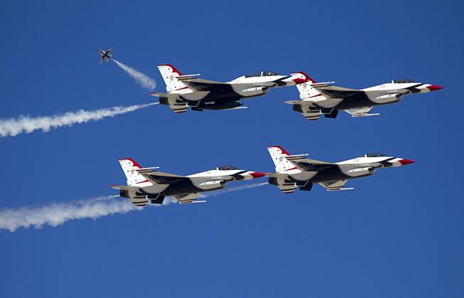 Members of the Thunderbirds, the U.S. Air Force Air Demonstration Squadron, train at Nellis Air Force Base Wednesday, Feb. 27, 2013.