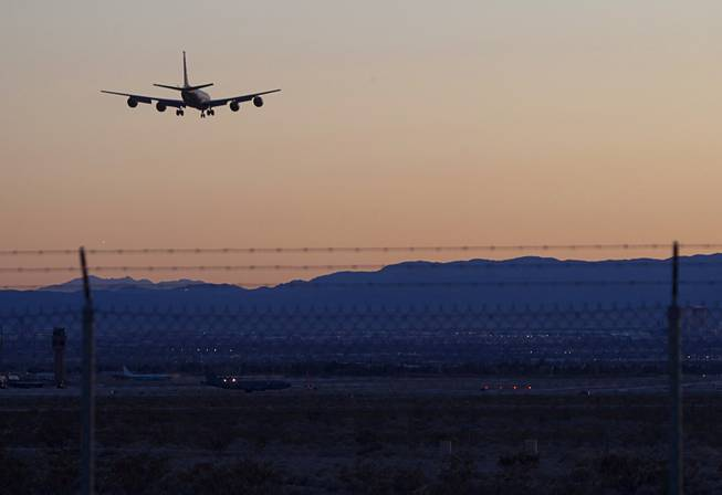 A tanker plane prepares to land at Nellis Air Force Base during Red Flag 13-3 exercises Wednesday evening, Feb. 27, 2013.