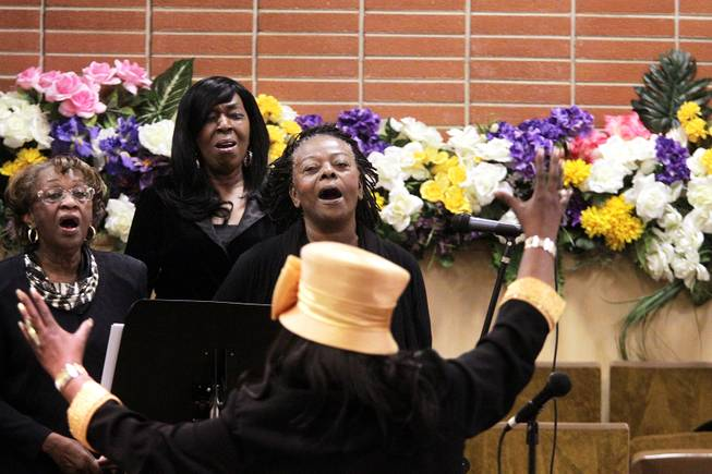 The choir sings during the memorial service for Michael Boldon at Holy Trinity AME Church in North Las Vegas on Wednesday, Feb. 27, 2013. Boldon was killed in his cab Feb. 21, the result of a fiery crash after a shootout on the Las Vegas Strip.
