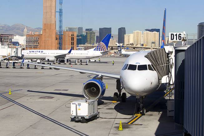 A new Allegiant Air Airbus A319 passenger jet is parked at a gate at McCarran International Airport Thursday, Feb. 28, 2013. The new jet is more fuel efficient than the company's current jets.