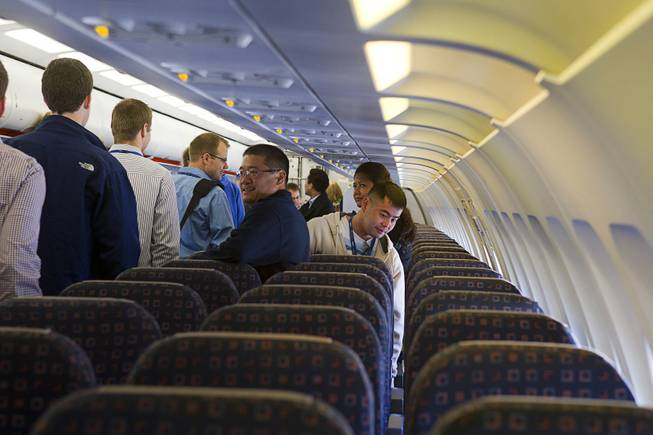 Allegiant Air employees get their first look at the company's new Airbus A319 passenger jet at McCarran International Airport Thursday, Feb. 28, 2013. The new jet is more fuel efficient than the company's current jets.