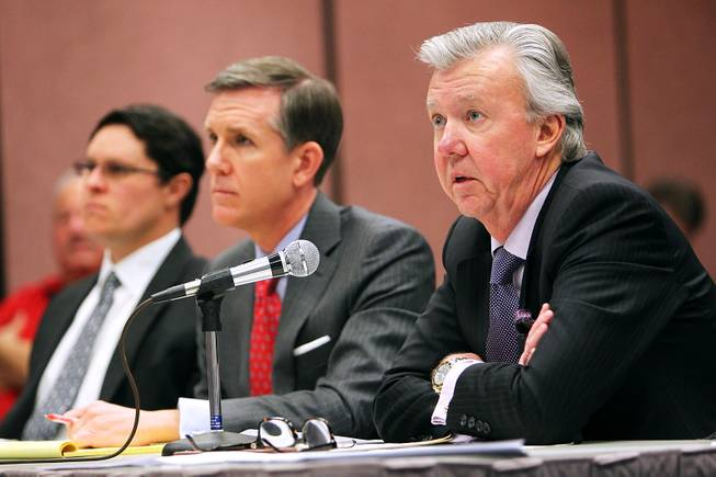 On behalf of his client Julio Cesar Chavez, Jr., attorney Don Campbell, right, addresses the Nevada State Athletic Commission Thursday, Feb. 28, 2013 during a hearing on Chavez's positive test for marijuana metabolites following a fight last September. Chavez was fined $900,000 and suspended for nine months.