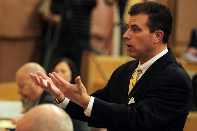 Assistant District Attorney Christopher Lalli speaks during the first Police Fatality Public Fact-finding Review concerning the Dec. 12, 2011 shooting of Stanley Gibson by a Metro Police officer at the Clark County Government Center in Las Vegas on Thursday, Feb. 28, 2013.