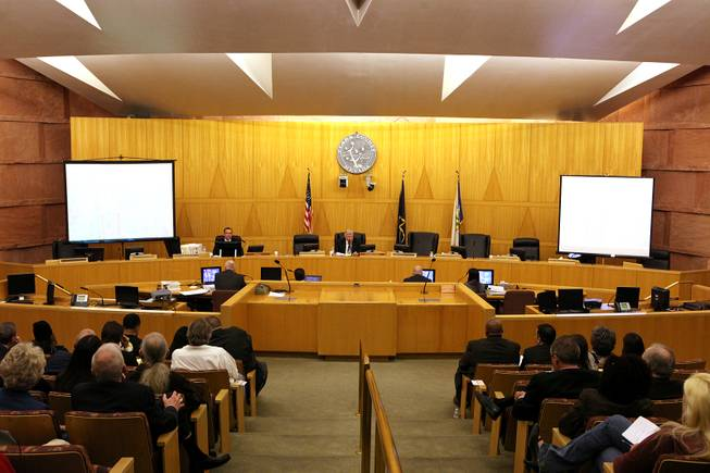 The first Police Fatality Public Fact-finding Review concerning the Dec. 12, 2011 shooting of Stanley Gibson by a Metro Police officer takes place at the Clark County Government Center in Las Vegas on Thursday, Feb. 28, 2013.