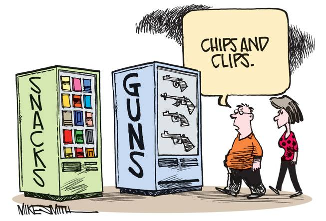 "The winning entry this month's Smithereens Cartoon Caption contest from from Vincent Miller, who got 56 percent of your votes for ""Chips and clips."""