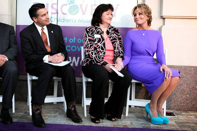 Governor Brian Sandoval, from left, CEO Linda Quinn and board of trustees chairman Judy Cebulko sit together during the donor ceremony and celebration at the new Discovery Children's Museum located in Symphony Park in Las Vegas on Friday, March 1, 2013.