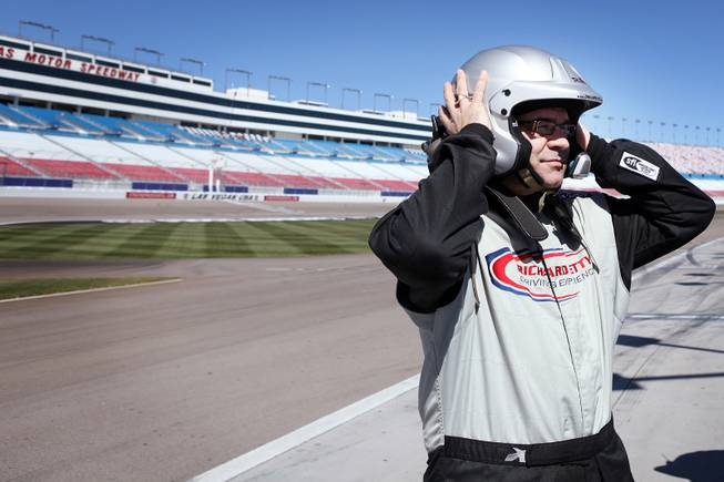 John Katsilometes gets ready to ride at the Richard Petty Driving Experience at Las Vegas Motor Speedway on Friday, March 1, 2013.