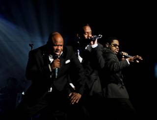 Wanya Morris, Shawn Stockman and Nate Morris of Boyz II Men perform on opening night of Boyz II Men's residency at The Mirage on Friday, March 1, 2013.