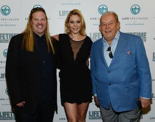 Michael Boychuck, Shanna Moakler and Robin Leach attend the grand opening of Boychuck's Life Spa + Salon in Summerlin on Thursday, Feb. 28, 2013.