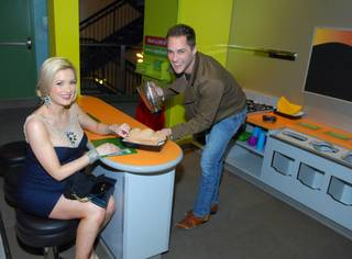 Holly Madison and Josh Strickland attend the grand opening of Discovery Children's Museum at The Smith Center on Friday, March 1, 2013.