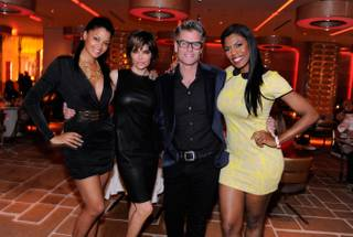 Claudia Jordan, Lisa Rinna, Harry Hamlin and Omarosa at Andrea's in Encore on Saturday, March 2, 2013.