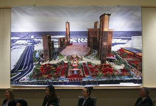 An artist's illustration of the new Resorts World Las Vegas is displayed during a news conference at Steelman Design Monday, March 4, 2013. The Genting Group announced plans for Resorts World Las Vegas, a multi-billion dollar resort to be built on the site of the stalled Echelon project.