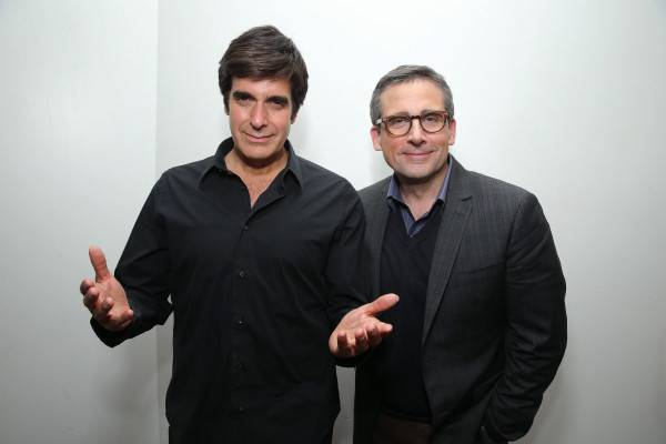 David Copperfield and Steve Carell backstage at Hollywood Theater in MGM Grand Las Vegas.