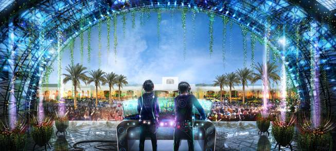 Renderings of Daylight Beach Club at Mandalay Bay.