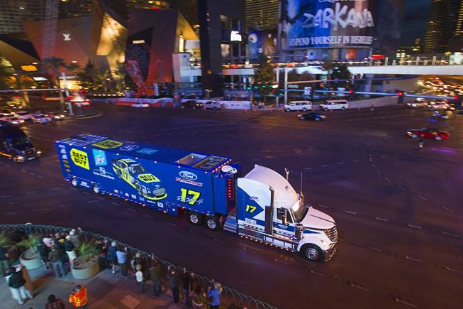 Ricky Stenhouse Jr.'s hauler heads north on Las Vegas Boulevard Wednesday, March 6, 2013.  The NASCAR hauler parade traveled north on the Las Vegas Strip to Sahara Avenue, then on I-15 to the Las Vegas Motor Speedway.