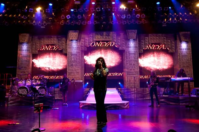 "Paul Shortino performs with other band members during song rehearsal for ""Raiding the Rock Vault"" in the LVH Theater at LVH on Wednesday, March 6, 2013."