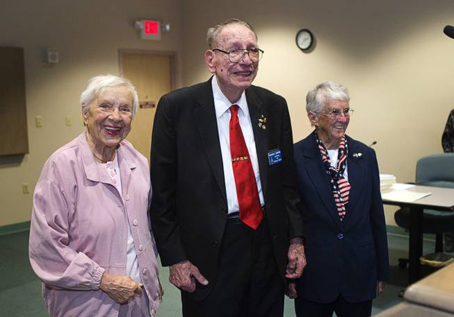 World War II veterans are honored during Veterans Court in Henderson Thursday, March 7, 2013. From left are: Navy veteran Evie Hallas, Army veteran Richard Zimpfer and Coast Guard veteran Billie D'Entremont.