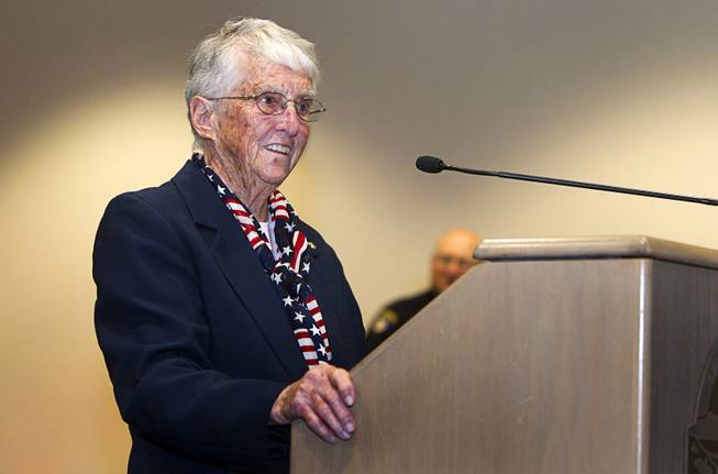 World War II veteran Billie D'Entremont speaks about her service as World War II veterans are honored in Veterans Court in Henderson Thursday, March 7, 2013. D'Entremont served in the coast guard from 1943-1945.