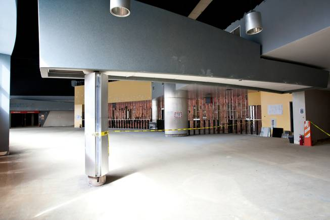 Construction is underway for the main entrance and central bar of Krave Massive, the world's largest gay club, featuring a Top 40 Club, Hip Hop Club, Country Saloon, Men's Revue Show and more in the reconstructed theater space at Neonopolis in downtown Las Vegas, March 7, 2013.