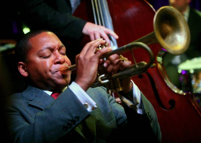 In this Oct. 24, 2007, file photo, musician Wynton Marsalis performs during the 2007 Future Legends Awards at Cooper-Hewitt National Design Museum in New York.