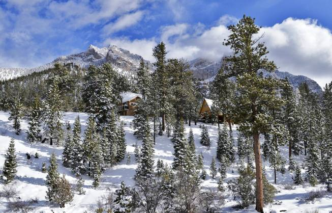 Fresh snow covered Mt. Charleston after storms passed over the Las Vegas Valley, Friday, Mar. 8, 2013.