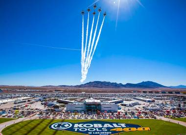 The Thunderbirds, the U.S. Air Force Air Demonstration Squadron, fly over the Las Vegas Motor Speedway prior to the start of the during the Kobalt Tools 400 NASCAR race Sunday, March 10, 2013.