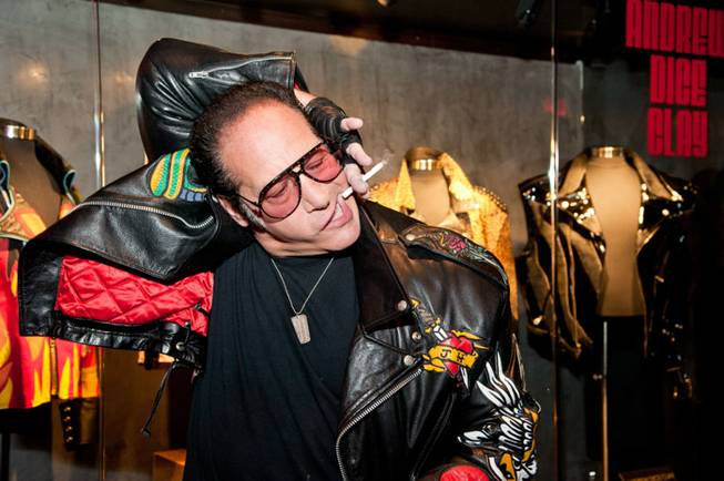 A memorabilia display for Andrew Dice Clay is unveiled at The Hard Rock Hotel in Las Vegas on Tuesday, March 12, 2013.
