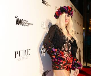 Ke$ha arrives at Pure's eighth-anniversary party at Caesars Palace on Tuesday, March 12, 2013.