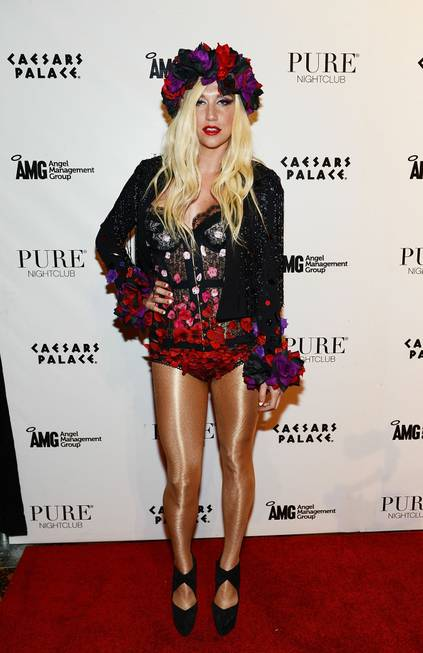 Ke$ha arrives at Pure's eighth-anniversary party at Caesars Palace on ...