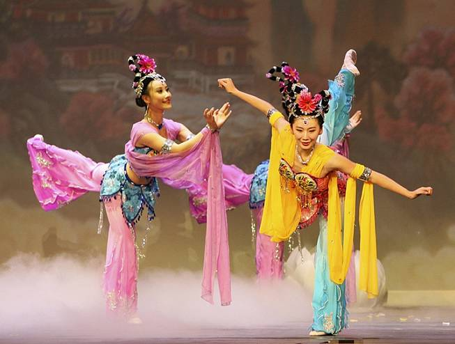 "In this photo released by Shen Yun Performing Arts, Cindy Liu, left and Michelle Ren, perform a classical Chinese dance celebrating ""The Year of the Tiger,"" during their first show at Radio City Music Hall in New York, Saturday, Feb. 13, 2010. The company will appear at Radio City Music Hall through Sunday, Feb. 21."