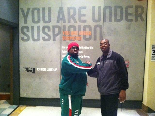 CeeLo Green, left, and guest services team member Antonn Mitchell at The Mob Museum.