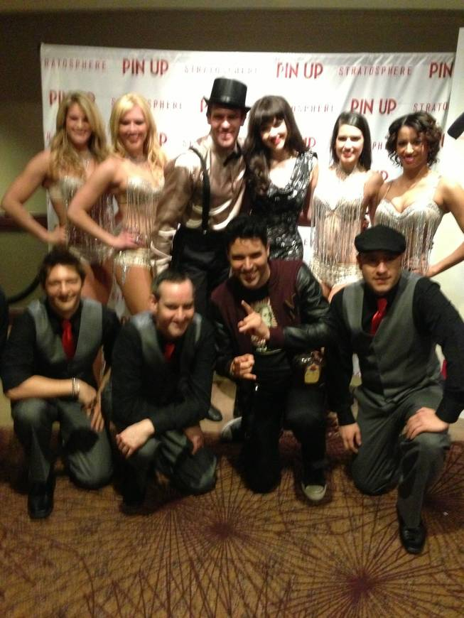 "Frankie Moreno, front row second from right, and Claire Sinclair, second row third from right, with ""Pin Up"" cast members at Stratosphere."