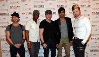 Mo5aic attends Recycled Percussion's opening night at The Quad in Las Vegas on Thursday, March 14, 2013.