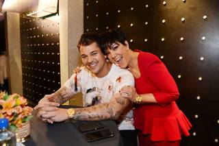 Rob Kardashian and Kris Jenner during Kardashian's Arthur George Street sock line launch at Kardashian Khaos in The Mirage on Saturday, March 16, 2013.