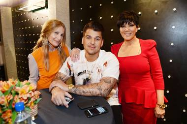 Cici Bussey, Rob Kardashian and Kris Jenner during Kardashian's Arthur George Street sock line launch at Kardashian Khaos in The Mirage on Saturday, March 16, 2013.