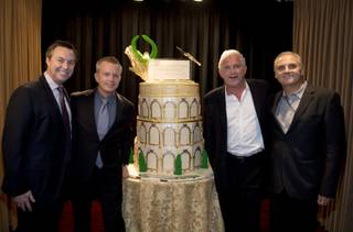 H.C. Rowe, of AEG and executive director of The Colosseum; John Nelson, AEG vice president; John Meglen, AEG president and co-CEO; and Dave Platel, CDA Productions Management associate celebrate the 10th anniversary of The Colosseum at Caesars Palace on Saturday, March 16, 2013.