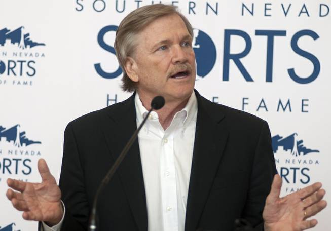 Las Vegas Events President Pat Christenson speaks during a press conference announcing his induction into the Southern Nevada Sports Hall of Fame on Tuesday, March 19, 2013.