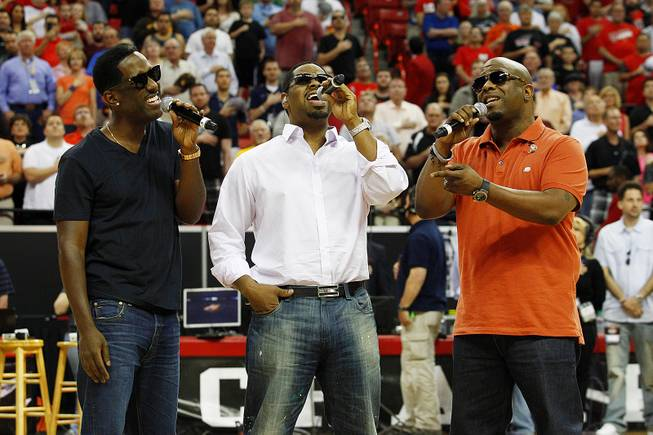 Boyz II Men perform the national anthem before the start of UNLV's Mountain West Conference Tournament championship game against New Mexico Saturday, March 16, 2013 at the Thomas & Mack Center.