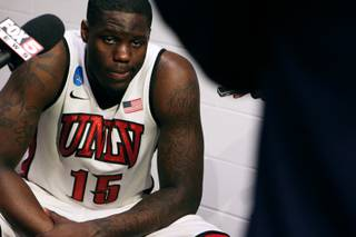 UNLV forward Anthony Bennett is interviewed in the locker room after their 64-61 loss to Cal during their second round game at the NCAA Basketball Tournament Thursday, March 21, 2013 at the HP Pavilion in San Jose, Calif.