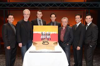 Deven May, Bob Gaudio, Rob Marnell, Jeff Leibow, Frankie Valli, Graham Fenton and Travis Cloer celebrate the fifth anniversary of