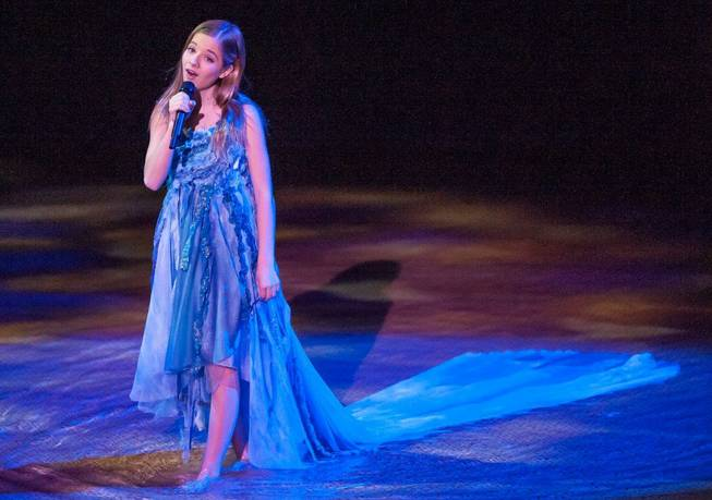 "Jackie Evancho performs during Cirque du Soleil's ""One Night for One Drop"" at Bellagio on Friday, March 22, 2013."